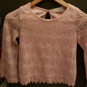 Knit Works Lace pink Top small girls top 7/8